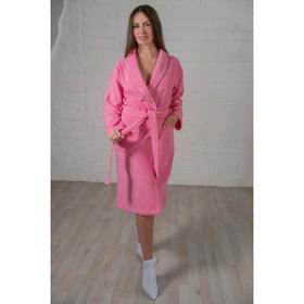 Халат женский шалька+кант, размер 48, розовый, махра