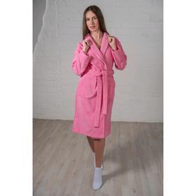 Халат женский шалька+кант, размер 50, розовый, махра