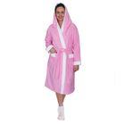 Халат женский, размер 48, белый/розовый, махра