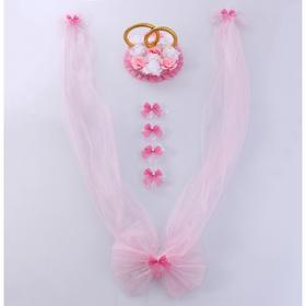 Set for car decoration, such as rings on the roof, a bow on the radiator, 4 bow on the handle, 2 ribbons on the hood, pink and white