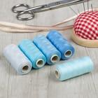 Набор ниток, 5шт, 40S/2, 300м, 100% полиэстер, оттенки голубого