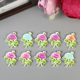 Набор пуговиц декоративных дерево 'Розочка' (набор 10 шт) МИКС 3х2,3 см Ош