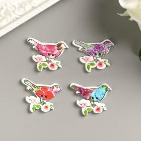 "A set of buttons decorative wood ""Bird on branch"" (set 10 PCs) MIX of 3x3 cm"