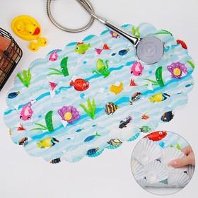 Коврик для ванны Доляна «Морские жители», 38×63 см