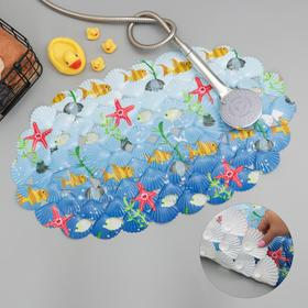 Коврик для ванны Доляна «Морские игры», 37×65 см