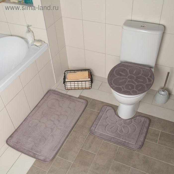 "Set of floor mats for bathroom and toilet ""Buttercups"" 3 PCs, color grey"
