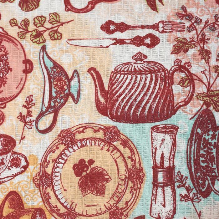 """Скатерть Доляна """"Чайные традиции"""" 145х144 см, 100% хлопок, вафельное полотно 162 г/м2"""