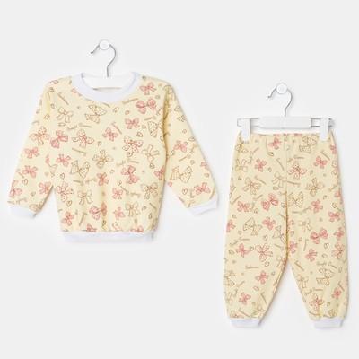 Пижама для девочки, рост 86 см, цвет жёлтый, принт бантики ЯВ132794_М