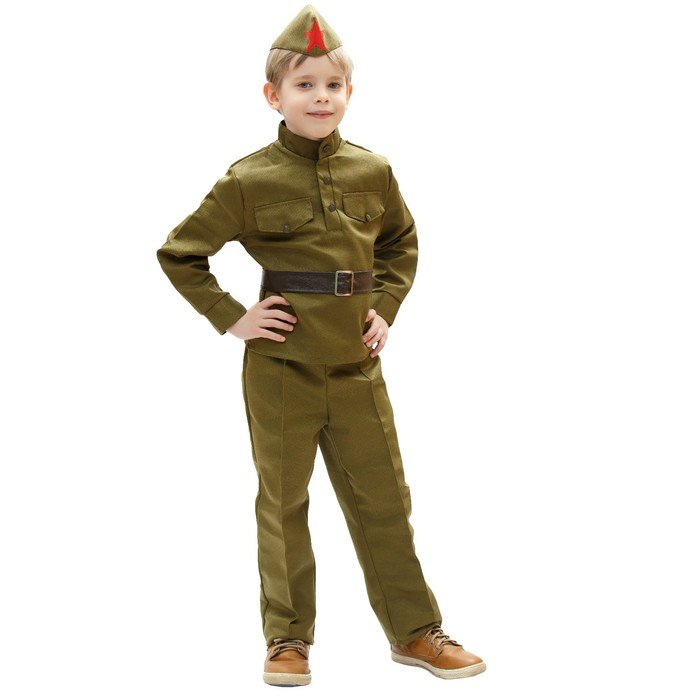 Костюм военного, гимнастёрка, ремень, пилотка, брюки, 5-7 лет, рост 122-134 см - фото 105522236