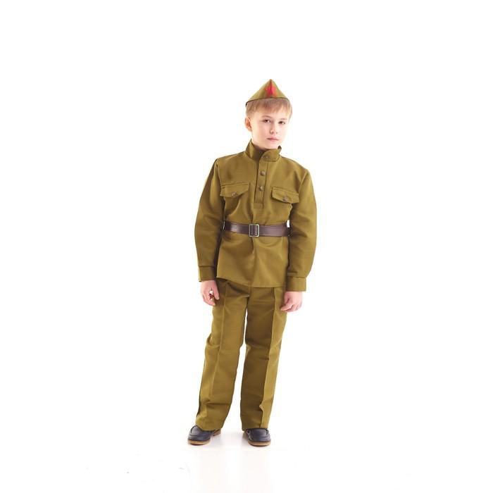Костюм военного, гимнастёрка, ремень, пилотка, брюки, 8-10 лет, рост 140-152 см - фото 105522237
