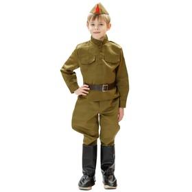 Костюм военного, гимнастёрка, ремень, пилотка, галифе, сапоги, 3-5 лет, рост 104-116 см