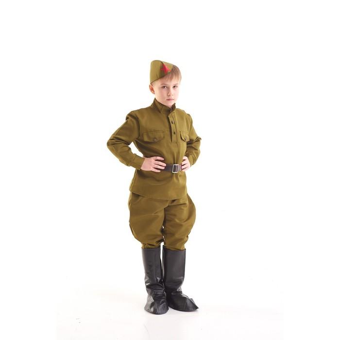 Костюм военного, гимнастёрка, ремень, пилотка, галифе, сапоги, 8-10 лет, рост 140-152 см - фото 1701468