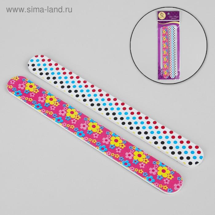 Пилки наждачные для ногтей, абразивность 180, 18см, 2шт, цвет МИКС