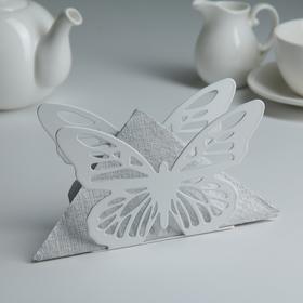 Салфетница «Бабочка», 13,5×4×9 см, цвет белый
