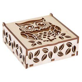 Шкатулка из фанеры квадратная (6 деталей) 'Сова' 11х11х4,5 см Ош