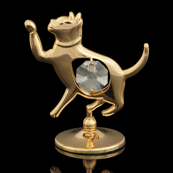 Сувенир «Кошка», 3х5,5х6 см, с кристаллами Сваровски
