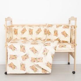 """Комплект в кроватку """"Спящие мишки"""" (6 предметов), цвет бежевый 615/1 синтепон"""