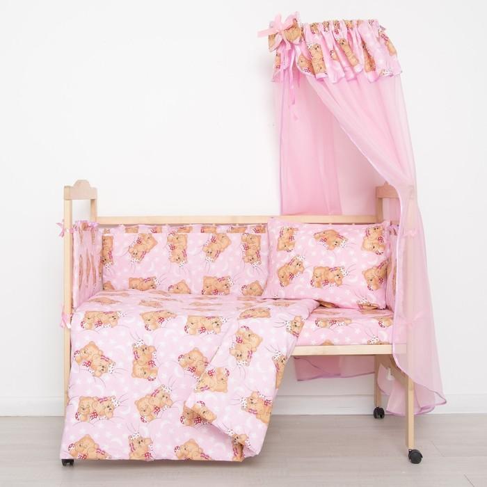 """Комплект в кроватку """"Спящие мишки"""" (7 предметов), цвет розовый 715/1 - фото 1701693"""