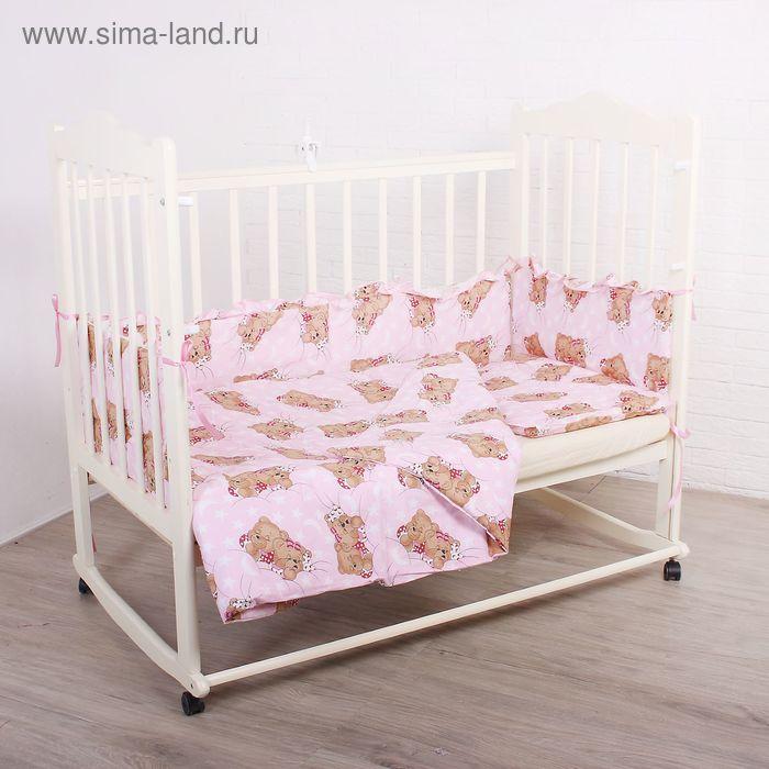 """Комплект в кроватку """"Спящие мишки"""" (3 предмета), цвет розовый 35"""