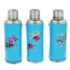 Термос 2000 мл «Цветы», с ручкой, 1 кружка, рисунок микс, голубой