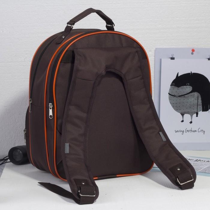 de9a1d88bb28 ... Рюкзак школьный на молнии, 2 отдела, 2 наружных кармана, цвет  коричневый ...