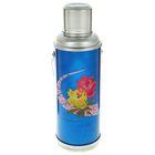 Термос 1200 мл «Цветы на дуге», с ручкой, 1 кружка, синий
