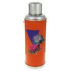 Термос 2000 мл «Розы в треугольнике», с ручкой, 1 кружка, оранжевый
