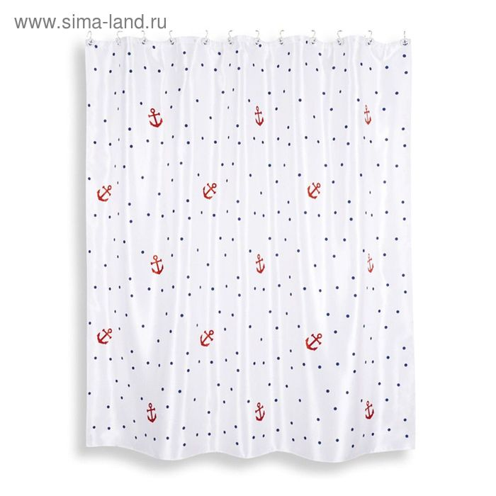 Штора из ткани для ванной комнаты 200х200 см Maritime white