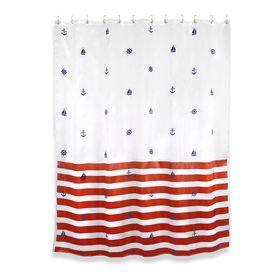 Штора для ванной комнаты Maritime red, ткань, 184 х 200 см