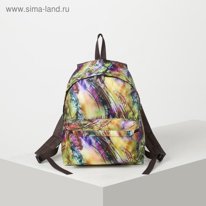 Рюкзак молодёжный на молнии, 1 отдел, наружный карман, цвет коричневый/разноцветный