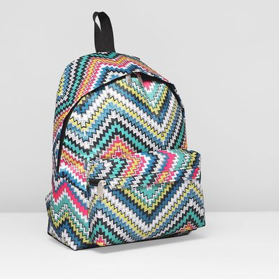 Рюкзак молодёжный на молнии, 1 отдел, наружный карман, цвет разноцветный
