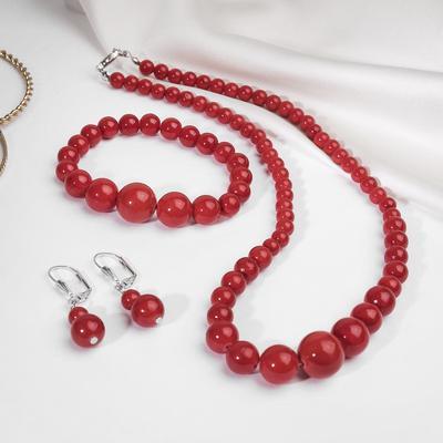 Set of 3 items (earring, necklace, bracelet), a stylized coral