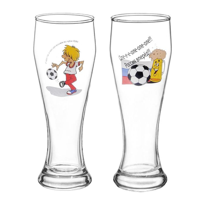 "Набор бокалов для пива 500 мл ""Футбол"", 2 шт"