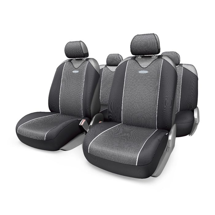 Чехол-майка AUTOPROFI CARBON PLUS CRB-902P BK/GY, закрытое сиденье, полиэстер под карбон, 9 предметов, цвет чёрный/серый