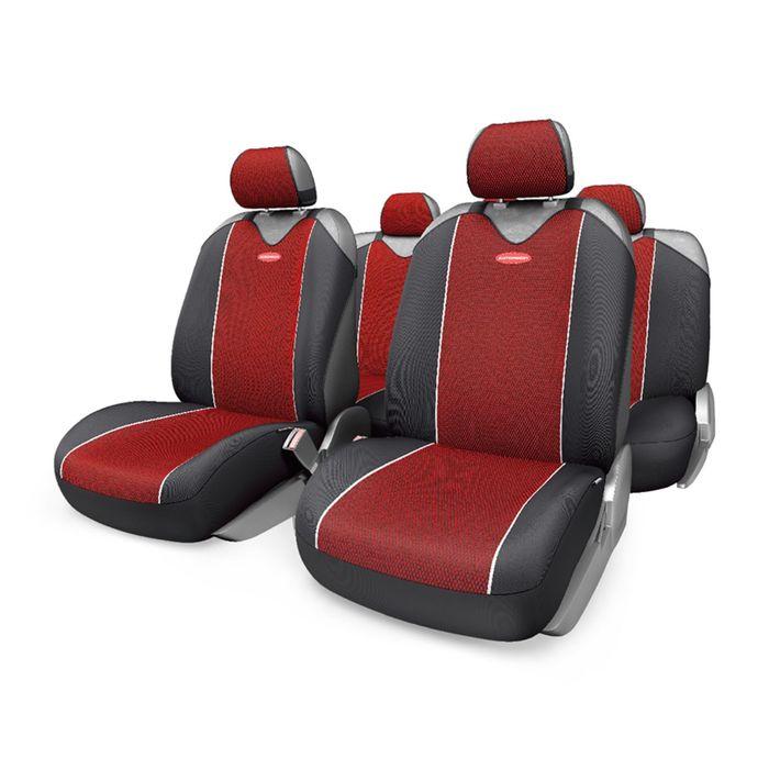 Чехол-майка AUTOPROFI CARBON PLUS CRB-902P BK/RD, закрытое сиденье, полиэстер под карбон, 9 предметов, цвет чёрный/красный