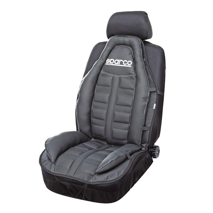 Накидка на переднее сиденье SPARCO SPC/CUS-010 BK, спортивный дизайн, экокожа, наполнитель синтепон, цвет чёрный, 1 шт
