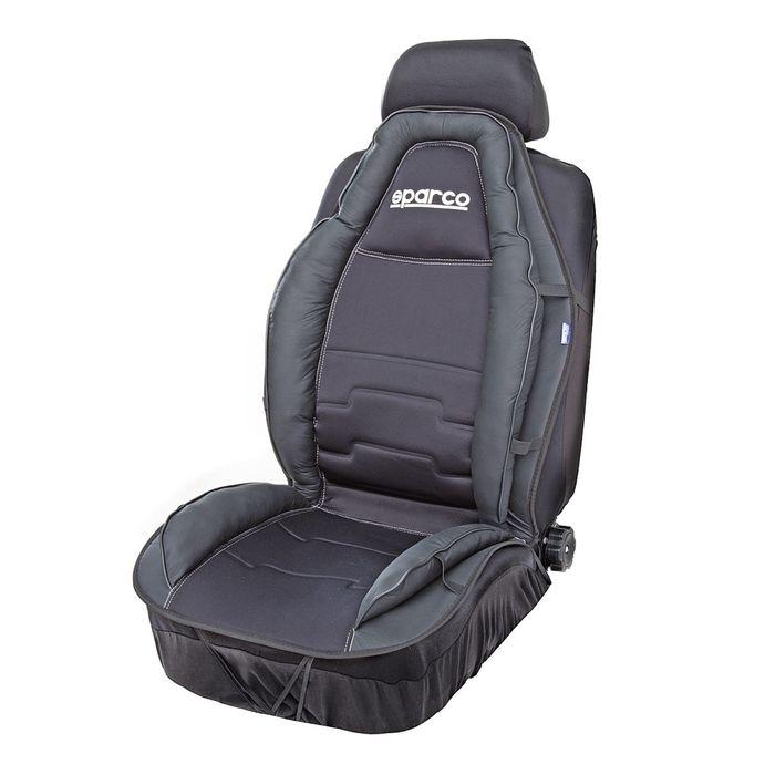 Накидка на переднее сиденье SPARCO SPC/CUS-020 BK, спортивный дизайн, экокожа+полиэстер, наполнитель синтепон, цвет чёрный, 1 шт