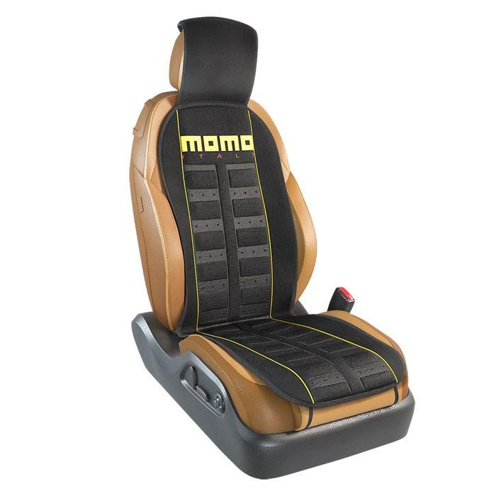 Накидка на переднее сиденье MOMO-101 BK/YE, серия SPORT, полиэстер, цвет чёрный/жёлтый, 1 шт