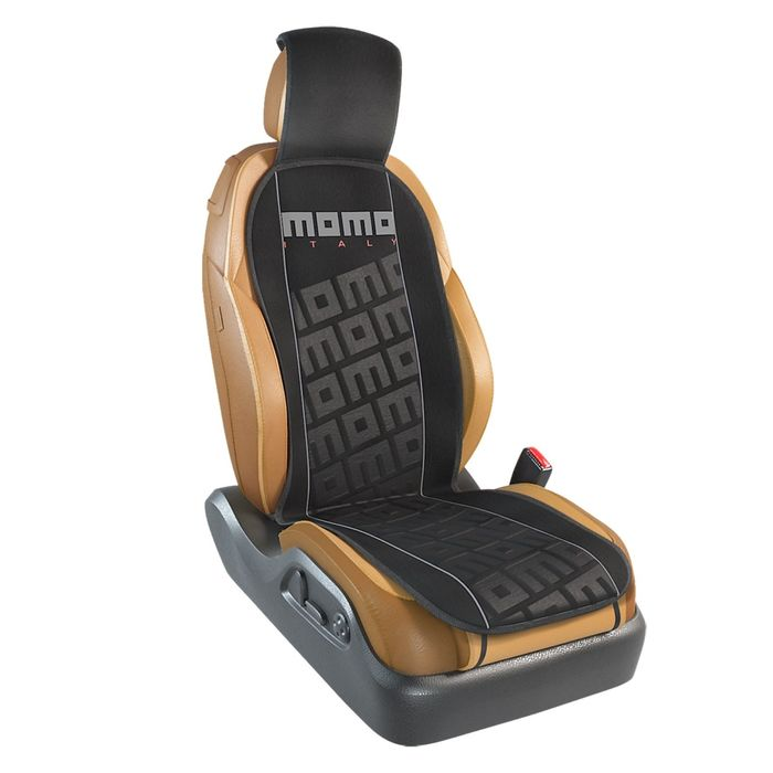 Накидка на переднее сиденье MOMO-102 BK/GY, серия TUNING, полиэстер, цвет чёрный/серый, 1 шт