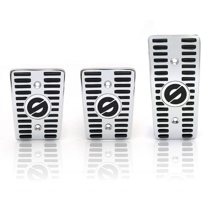 Накладки на педали SPARCO SPC/PD-CLS AL/BK , серия Classic, алюминиевые, комплект из 3 штук для МКПП, цвет алюминиевый/чёрный