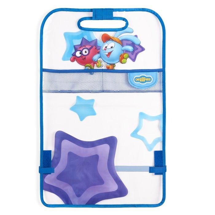 """Кикмат """"Смешарики"""" для защиты спинки переднего сиденья от ног ребёнка, мягкий прозрачный ПВХ, цвет синий/голубой, SM/KMT-010 Krosh"""