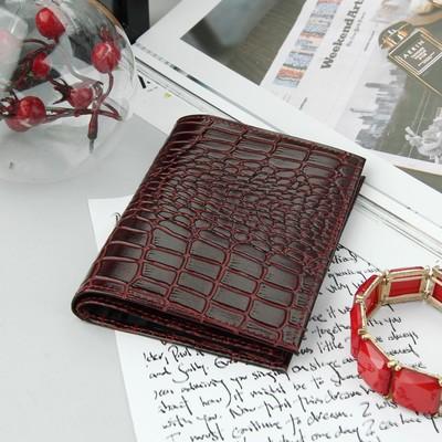 Обложка для автодокументов, отдел для паспорта, крокодил, цвет бордовый