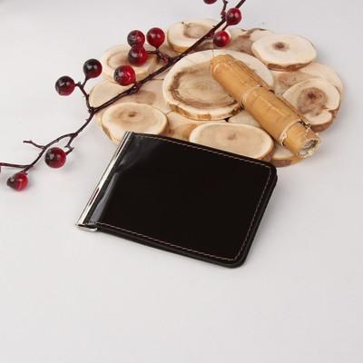 Зажим для купюр, отдел для монет, цвет коричневый