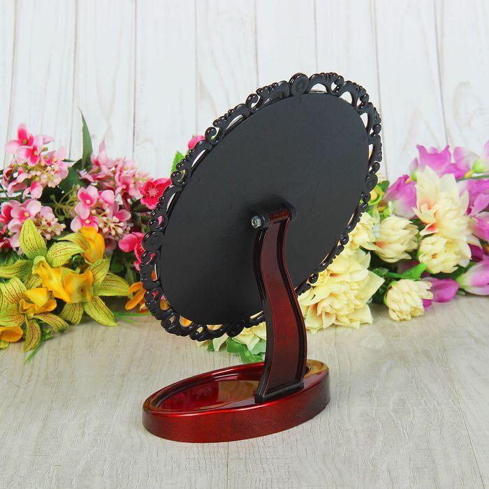 Зеркало на ножке «Ажурный кант», круглое, без увеличения, цвет бордовый