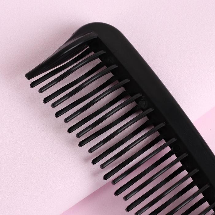 Расчёска с ручкой, двухрядная, цвет чёрный