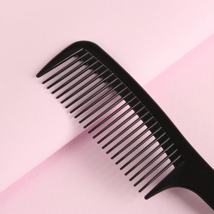 Расчёска-гребень с ручкой, цвет чёрный
