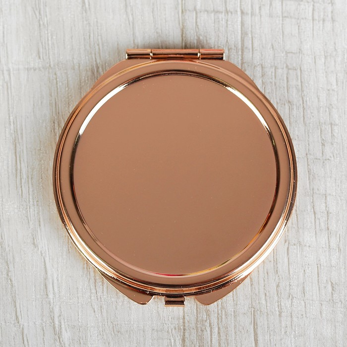 Зеркало складное, круглое, без увеличения, двустороннее, d=6см, цвет золотой