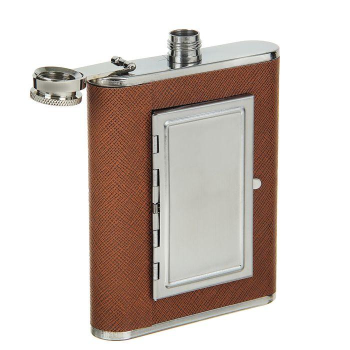 Фляжка Brown, 180 мл, коричневая + портсигар на 8 сигарет (внутри фляжки)