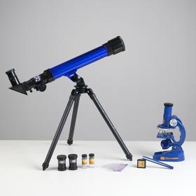 Набор: телескоп настольный, три линзы: х20, 30, 40 + микроскоп, увеличение х300, 600, 1200