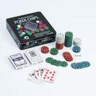 Набор для покера Professional Poker Chips: 2 колоды карт по 54 шт., 100 фишек, фишка дилера, металлическая коробка